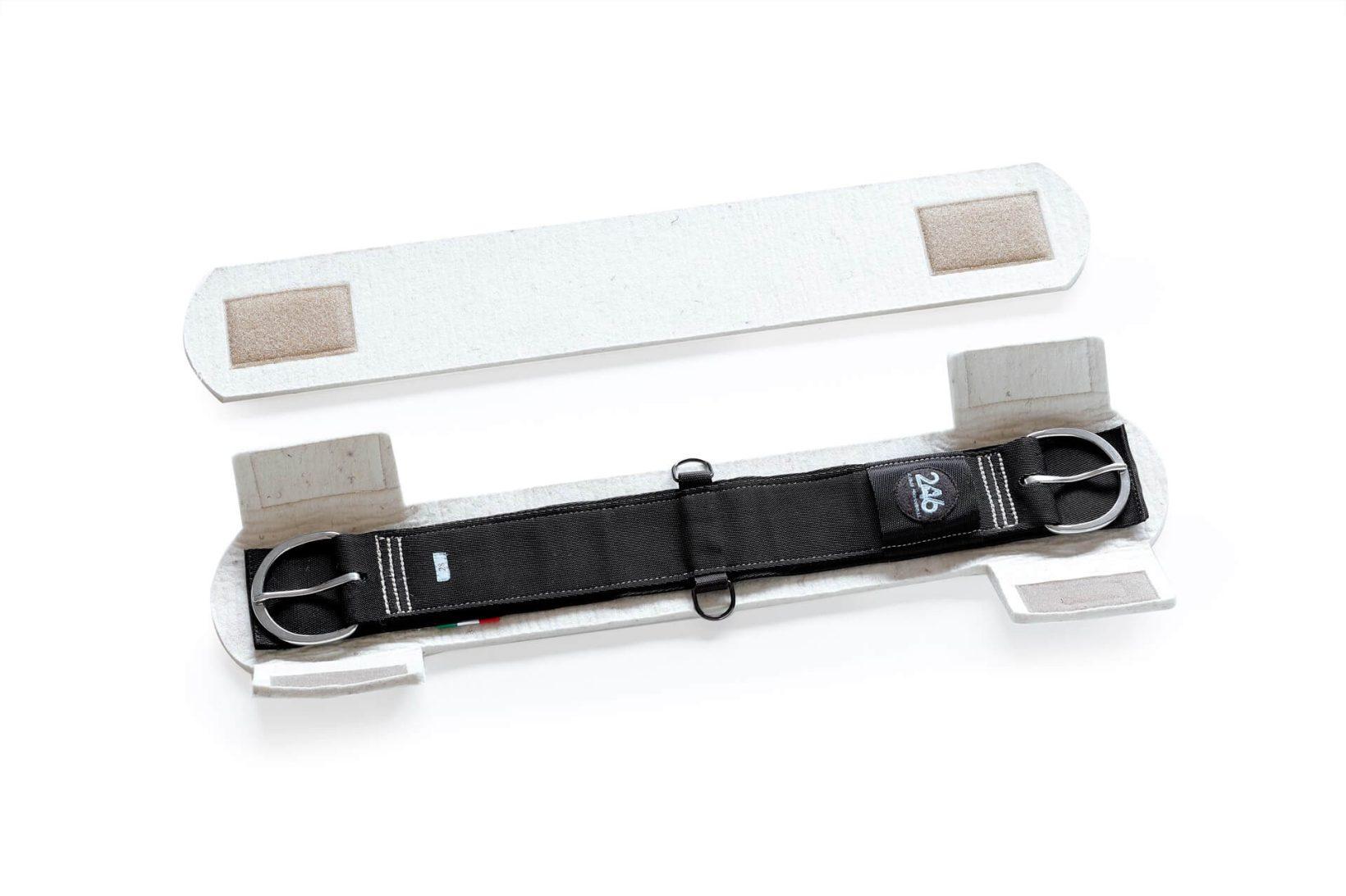 Sottopancia grigio per cavallo in lana, nylon con fibbia in acciaio inox   246 Reiner Professional